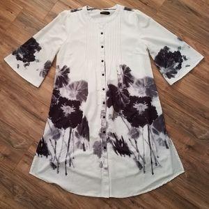 Reborn Floral Button Down Half Sleeve Dress L